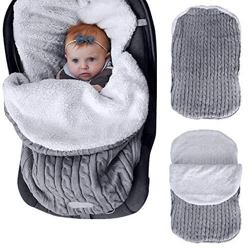 Mengqiy Manta para bebé recién nacido, gruesa de punto, suave, cálida, de forro polar, saco de dormir, para bebés de 0 a 12 meses, color gris