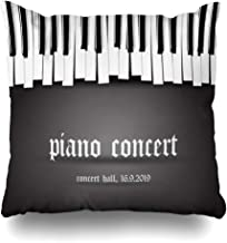 Ahawoso Throw Pillow Cover Square 16x16 Beautiful Rhythm Black Refrain Monochrome Piano Concert Invitation Blues Signs On Symbols Abstract Decorative Cushion Case Home Decor Zippered Pillowcase