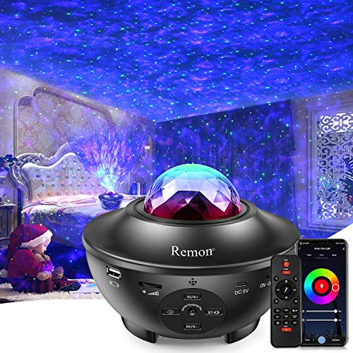 Remon Star Projector Galaxy Projector Smart Night Light Upgrade Version with Ocean Wave Projector Remote Control & Bluetooth Music Speaker, Works with Alexa Google Home, Music Starry Light.