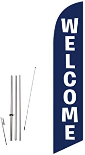 Cobb Promo Welcome (Blue) Feather Flag with Complete 15ft Pole kit and Ground Spike