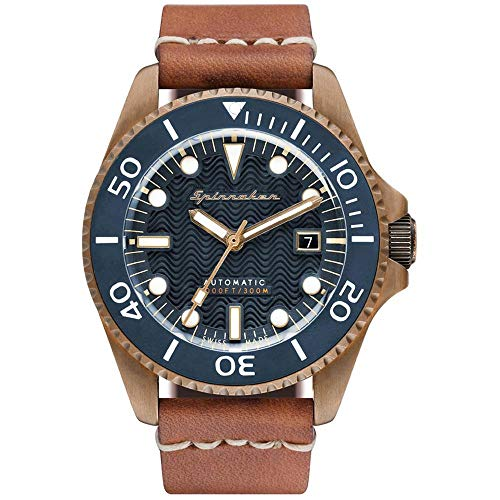 SPINNAKER Men's Tesei 42mm Brown Leather Band Metal Case Automatic Blue...