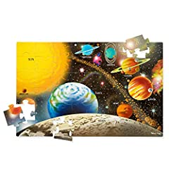 Beautiful solar system puzzle: The Melissa & doug solar system floor puzzle includes 48 extra thick cardboard pieces that are easy for children to put together; the finished puzzle displays beautiful original artwork Easy to clean: This solar system ...