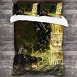 AIMILUX Funda Edredón,Dibujos Animados Dibujados a Mano y Dibujos fotográficos,Edificios Retro del Castillo con Luces,Ropa de Cama Funda Nórdica,1(220x240cm)+2(50x80cm)
