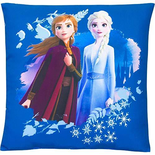 Frozen 2 - La Reine des Neiges Coussin décoratif pour enfant Coussin réversible Anna Elsa Olaf 35 x 35 cm
