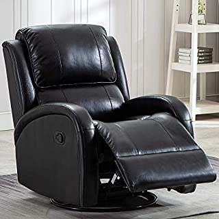 Swivel Rocker Recliner Chair - Premium PU Leather Glider Recliner Chair Reclining Chair Living Room Sofa Chair with Manual Pull, Contemporary Rocking Recliner (Black)