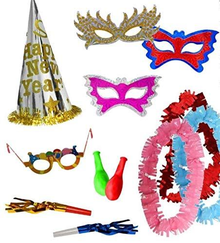CAPRILO Lote de 10 Bolsas de Cotillones Decorativas Happy New Year Eco. Cotillón para Fiestas y Eventos. Decoración Original para Bodas, Comuniones,Cumpleaños y Fin de Año(Nochevieja).