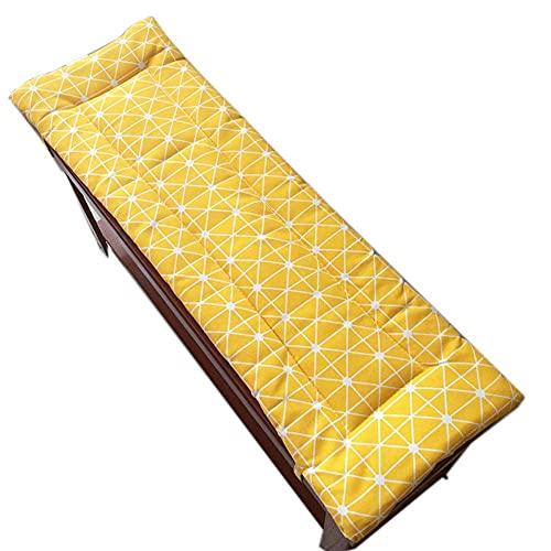 Luckyrainbow Cojín largo de banco con lazos de fijación, columpio 2 o 3 plazas, cojín de repuesto para colchón de viaje interior y exterior, lavable (amarillo, 100 x 30 cm)