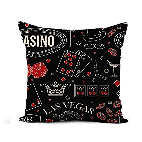 N\A Throw Pillow Cover Pattern Casino en la Pizarra Símbolos de Juego Vintage Poker Funda de Almohada Retro Decoración del hogar Funda de Almohada de Lino de algodón Cuadrada Funda de cojín