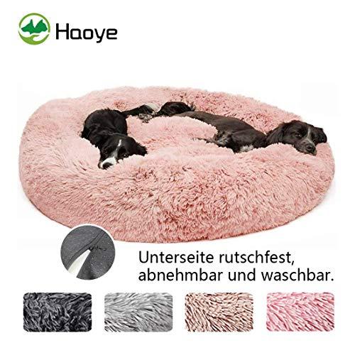 Deluxe Round Pet Bett für Große Hunde, haustierbett plüsch Donut waschbar, Plüsch Hundebett Katzensofa Gepolstert Hundekorb - Rosa Ø 100cm