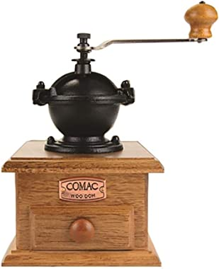 Comac Double Blade Manual Antique Coffee Grinder Square Wood Coffee Maker with Adjustable Setting & Cast Top Portable Hand Coffee Mill Whole Bean Grind Large Capacity