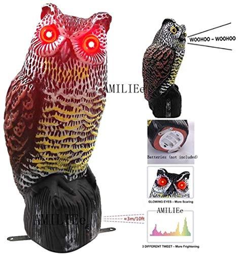 Figura de Búho Espantapájaros con ojos Reflectores, Bird Scare Owl Sonidos y Sombras Realistas Espeluznantes Control de Plagas al Aire libre Para Patio Yard Garden Protector (Negro, Un tamaño)