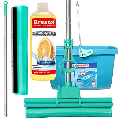 Green Mop Set 40-03 - Green Mop 40 cm + steel + reservespons + 20 liter Leifheit Emmer Combi XL + 1000 ml sinaasappelolie reiniger concentraat - Dubbele wringer mop zuigsterke wismop PVA vloerwisser