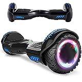 Magic Vida Skateboard Elettrico 6.5 Pollici Bluetooth Power 700W con Due Barre LED Monopattini elettrici autobilanciati di buona qualità per Bambini e Adulti(Nero Cromo)
