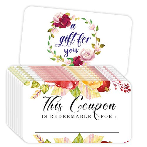 """Coupon Cards - (Pack of 100) 3.5""""x2"""" Blank Gift Certificates Redeem Vouchers for Small Business Package Insert - Floral"""
