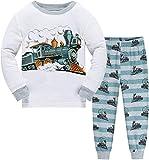 Pijama de manga larga para niños de dos piezas de algodón de noche dinosaurio excavadora camión de bomberos 92 98 104 110 116 122 Tren 92 cm