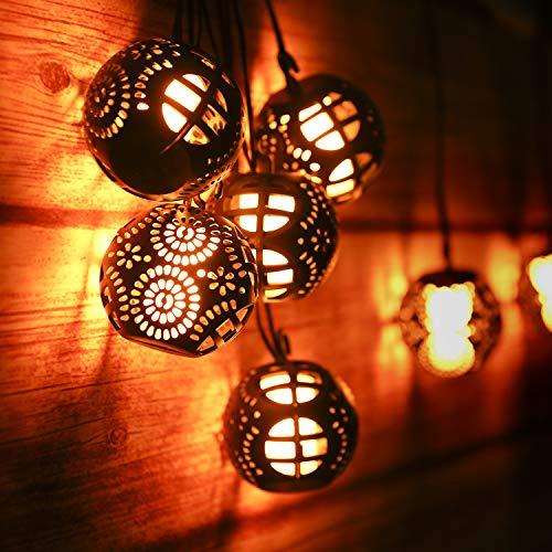 Flamme Lichterkette 10M, Weihnachten Lichterkette Halloween Lichterkette mit 8 ausgehöhlte Kugeln , mit Fernebedienung/IP44 Wasserdicht/4 Lichtmodi/Timer-Funktion