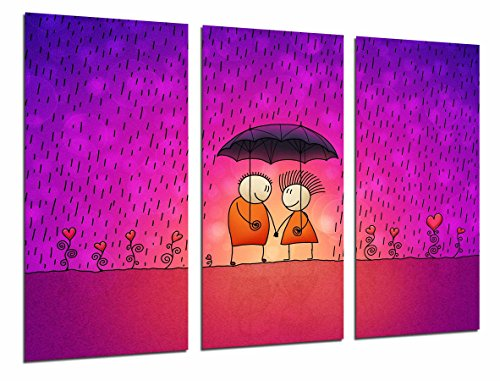 Cuadro Fotográfico Pareja Bajo la LLuvia, fondo Romantico Fucsia, Rosa Tamaño total: 97 x 62 cm XXL