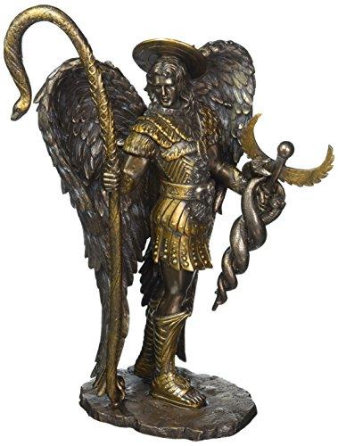 St. San Rafael Arcángel con Caduceo Curación Personal de bronce, diseño finish-8566