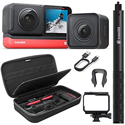 Insta360 ONE R Twin Edition Action Camera Bundle with Invisible Selfie Stick, Carrying Case, and Tempered Glass Screen/Lens Protectors by Sure RC