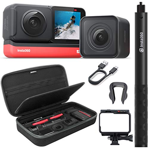 Insta360 ONE R Twin Edition Action Camera Bundle with Invisible Selfie Stick, Carrying Case, and Tempered Glass Screen/Lens Protectors