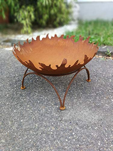 Zen Man Edelrost Garten Feuerschale Garten Schale mit Staender Pflanzenschale Rost Metall Gardendeko 50cm 1mm T=12.5cm
