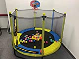 60' Trampoline for Kids with Net - 5 FT Indoor Outdoor Toddler Trampoline with Safety Enclosure for Fun,Mini Trampoline for Outdoor Indoor Family Backyard School Entertainment, Age 1-10