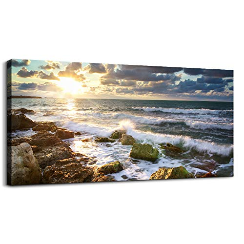 Wall Art for living room Print Artwork Wall Art Decor Sunrise and sunset The waves and rocks Landscape painting bedroom bathroom Decorations Seascape Canvas Prints Picture Home Office wall Decor
