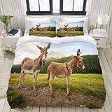 Funda nórdica, Dos Lindos burros en Dolomitas Italia, Juego de Cama, Juegos de Fundas de edredón de poliéster de Lujo Ultra cómodos y Ligeros (3 Piezas)