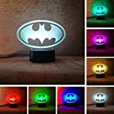 Fanrui 2020 3D LED Marvel Batman Symbol Logo - DC Justice League Batman Sign 7 Color Dimming Gradient Light Night Child Kids Desk Table Lamp Decor Boys Men Birthday Xmas Toys Presents