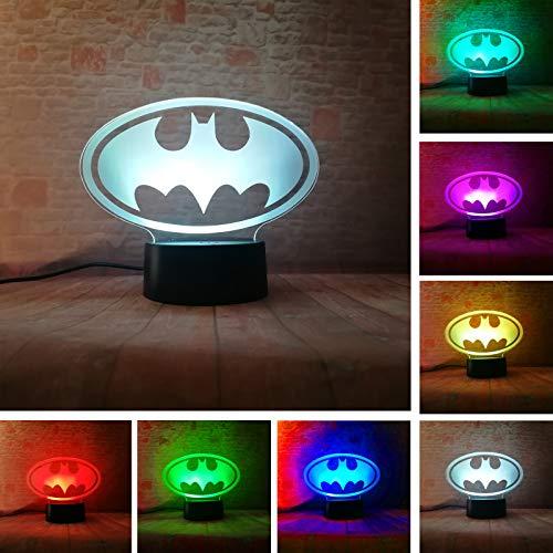 Fanrui DC Justice League Batman Symbol AA Battery 7 Color Auto Change Night Light The Dark Knight Desk Table Decor Lamp Flashlight Kids Toys Christmas Gift Birthday Present