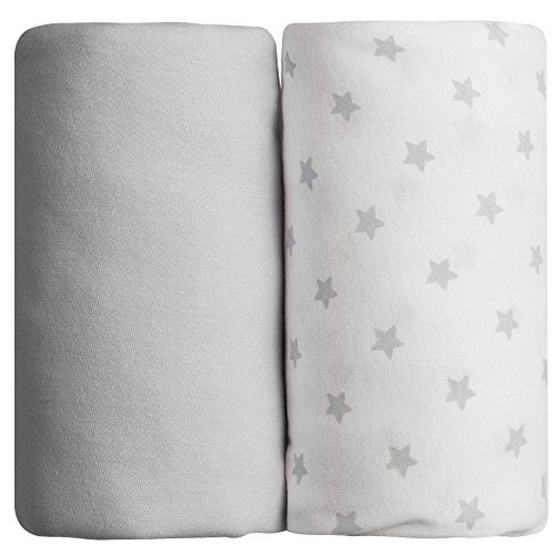 Babycalin Lot de 2 draps housse Gris - 60x120 cm