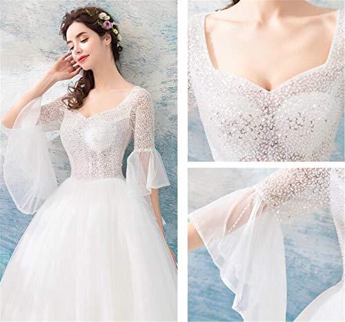 LYJFSZ-7 Hochzeitskleid,Elegantes Weiß, Sexy Edles Princess Style Dress, Trompete Ärmel Brautkleid No. 07486