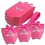 TsunNee 50 x Flamingo-Papier-Kästchen, Süßigkeiten-Schachteln, Handtaschen-Form, Party-Geschenk-Box, kreative Papier-Leckerli-Boxen, rosa