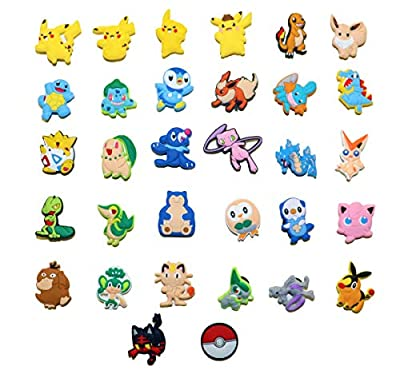 32 pcs Cartoon Shoe Charms PVC, for shoes with holes & Bands & Shoes & Bracelet Wristband Kids Party Birthday Gifts, Halloween, Toddlers Bday Gifts, Cute Shoe Decoration Charm, Treasure Toys for Party