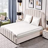 Thxsilk - Juego de sábana bajera y funda de almohada para 2 personas – 1 sábana bajera de 160 x 200 x 30 cm y 2 fundas de almohada cuadradas de 65 x 65 cm de seda 25 Momme – blanco