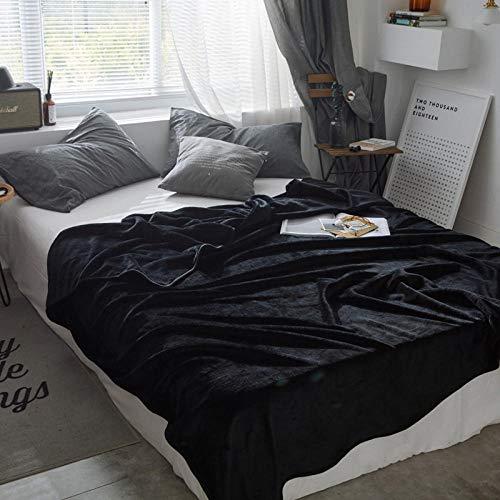 Amosiwallart Mantas para Sofa, Mantas para Cama de Franela Reversible, Mantas Ligeras de 100% Microfibra - Fácil De Limpiar - Extra Suave Cálido -Negro_180X200cm2,3 kg