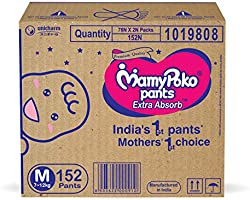 MamyPoko Pants Extra Absorb Diaper Box, Medium (7 - 12 kg), 152 Count