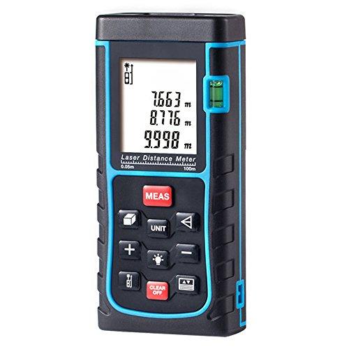 Medidor Láser de Distancia, GRDE Telémetro Láser 0 - 100M, Medidor de Metros con Unidades de Medición Ajustables entre M / In / Ft, Distanciómetro Láser con Baterías AAA Incluídas