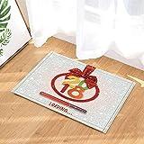 caichaxin Runde Fahne der Weihnachtsdekoration mit rotem Band für Guten Rutsch ins Neue Jahr 2018 Umweltfreundliche und tragbare weiche Badezimmermatte