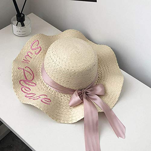 ZLLCYY Sonnenhut schützt die Sonne vor ultravioletten Strahlen, modisch und wild, beige Verstellbarer geflochtener Hut, breite Krempe, atmungsaktiv, ausgezeichnetes Sonnenschutzartefakt