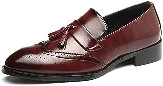 [GoldFlame-JP] ローファー 学生靴 タッセルシューズ 紳士靴 メンズ タッセルシューズ ウイングチップ メダリオン レザー 通気性 ローカット 3cm 低反発 ベーシック 焦がし加工 大きいサイズ 春