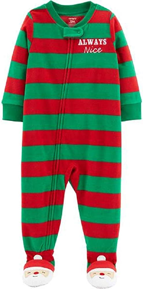 Baby Boy Microfleece Christmas Footed Pajamas 24 Months Red/Green