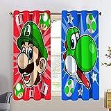 Cortinas opacas con ojales para ventana, diseño de Super Mario Bros Luigi Super Mario Bros Yoshi, para dormitorio de niños, 42 x 72 cm