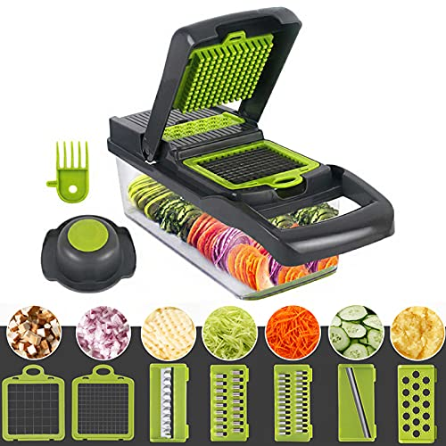 Vaupan Vegetable Chopper, Multifunctional 12-in-1 Food Choppers Onion Chopper Vegetable Slicer Cutter Dicer Veggie chopper with 8 Blades, Colander Basket, Container for Fruit Salad Carrot Potato