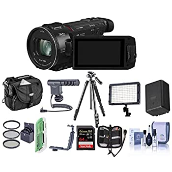 Panasonic HC-WXF1K 4K UHD Camcorder 24x Leica Dicomar Lens Bundle with Video Bag 32GB SDHC Card Spare Battery Video Light Shotgun Mic Tripod Cleaning Kit 62mm Filter Kit and More