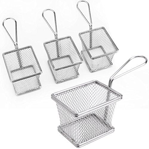 Anladia 4pcs Mini Restaurant Chips Basket Chrome Chip Fryer Basket Kitchen Serving Dish
