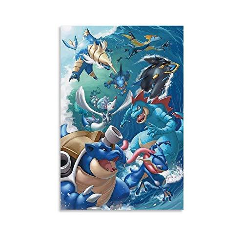FDKJ Póster de papel pintado de Pokémon tipo agua, para pared, decoración de pared, para sala de estar, dormitorio, 20 x 30 cm
