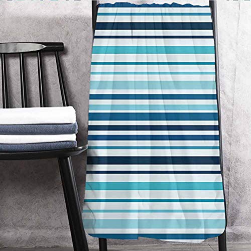 Abstract Excellent Towels Lighter Weight Quick Drying Towel Vertical Striped Pastel Toned Color Bands Lines Background Nautical Design Sky and Dark Blue 27' W x 54' L