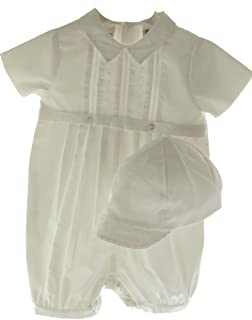 Boys White Christening Baptism Outfit & Hat Set Belted & Pintucks Sarah Louise