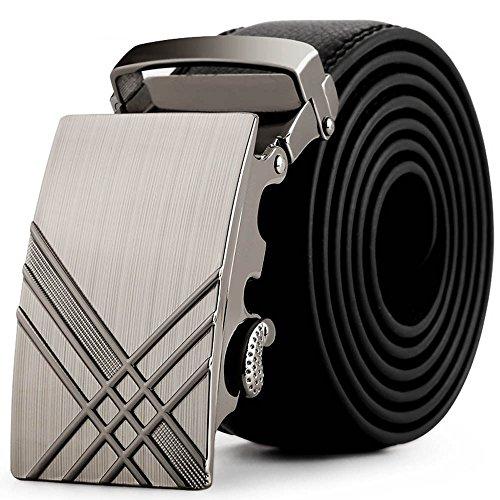 LYRICS Gürtel Herren,Leder Automatik Gürtel für Männer Kleidung Schwarz Business Ledergürtel